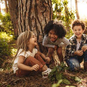 4 Kinder spielen im Wald