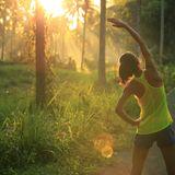 Läuferin beim Aufwärmen