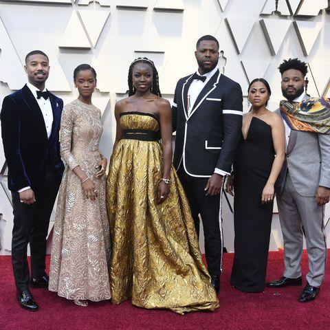 Michael B. Jordan and Black Panther cast