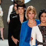 Marie Nasemann, Luisa Hartema und Rebecca Mir (v.l.n.r.) zeigten bei der Fashion Week Berlin ihr Catwalk-Können.