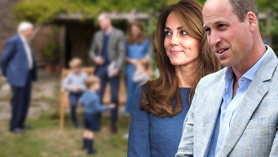 Blau in Blau: Im Partnerlook mit ihren Kindern