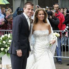 Rafael van der Vaart and Sylvie Meis during their wedding ceremony on June 10, 2005 in Heemskerk, Netherlands.