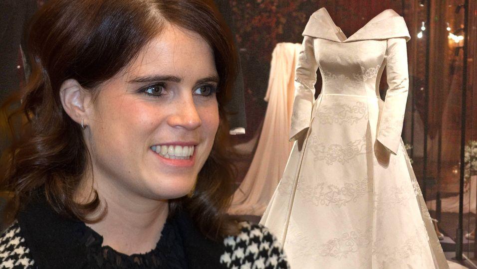 Mit leuchtenden Augen blickt sie auf ihr Brautkleid – aber alle achten nur auf ihren Bauch