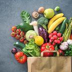 Papiertüte Obst Gemüse bunt
