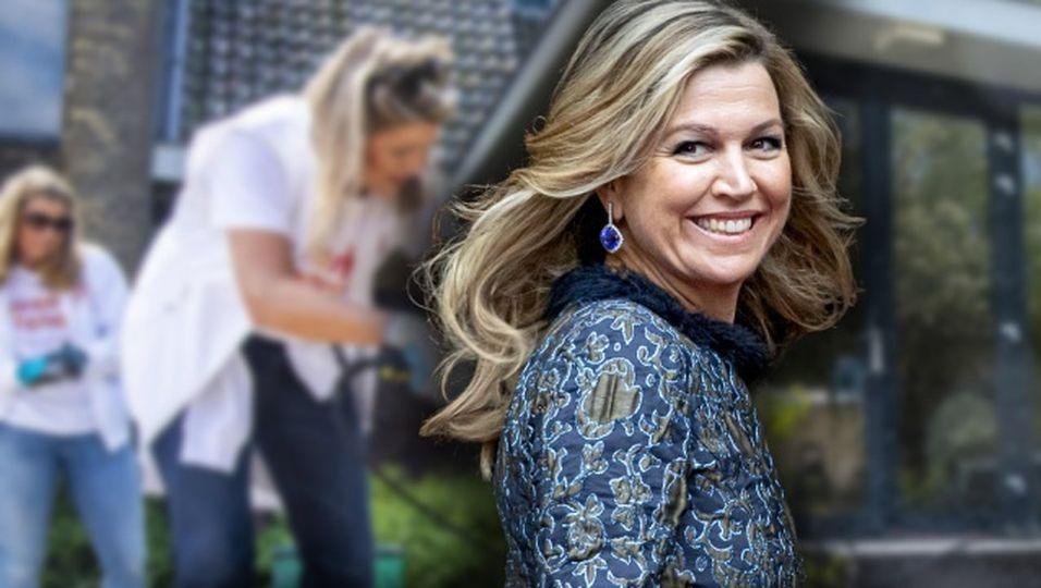 Strähnige Haare, T-Shirt, Jeans: Hier putzt die Königin höchstpersönlich!