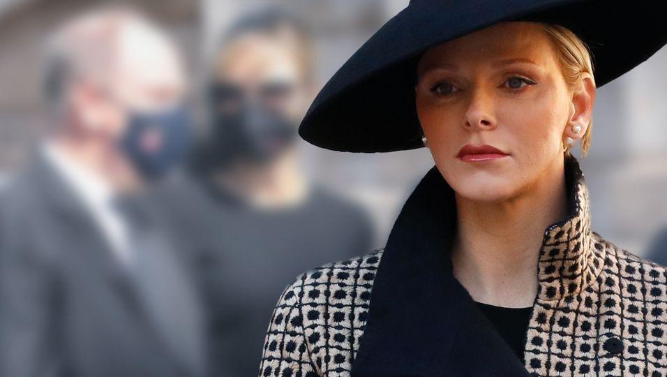 Im schwarzen Kleid & mit Schleier: Sie besucht die Beerdigung von Alberts Cousine