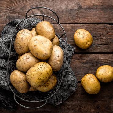 Kartoffel Tisch Korb Tuch