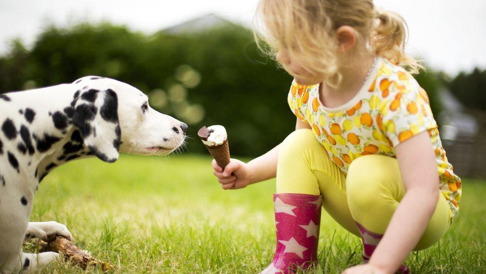 Kind teilt Eis mit Hund