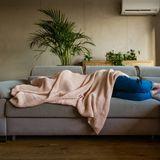 Frau, die auf einem Sofa liegt und sich unter einer Decker vergräbt.