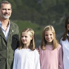 King Felipe VI of Spain, Queen Letizia of Spain, Princess Leonor of Spain (L) Princess Sofia of Spain (R) attend the Centenary of the creation of the National Park of Covadonga's Mountain and the opening of the Princess of Asturias viewpoint