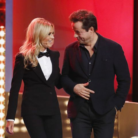 Helene Fischer and Jan Josef Liefers attend the last broadcast of the Wetten, dass..?? tv show on December 13, 2014 in Nuremberg, Germany.